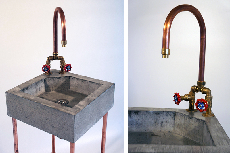 Concrete Sink With Copper Tap Copper Heater Jan Jongejans