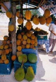 Jackfruits (zielone) & durians (żółtawe).