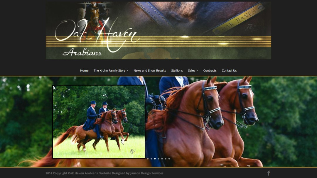 Oak Haven Arabians website