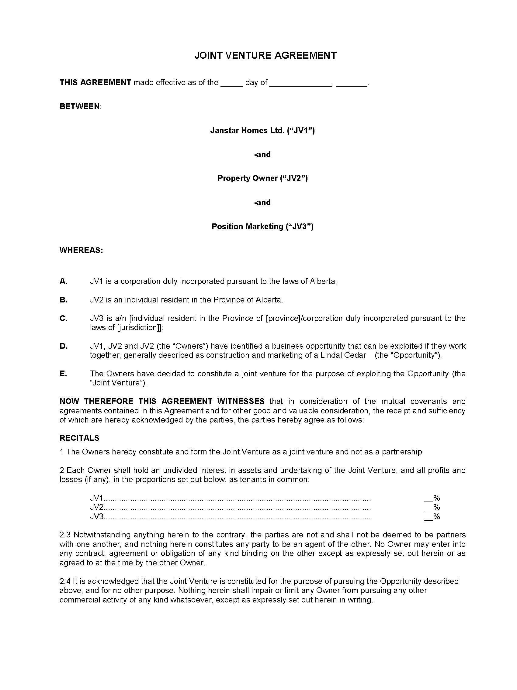joint venture agreement sample word format – Joint Venture Agreement Sample Word Format