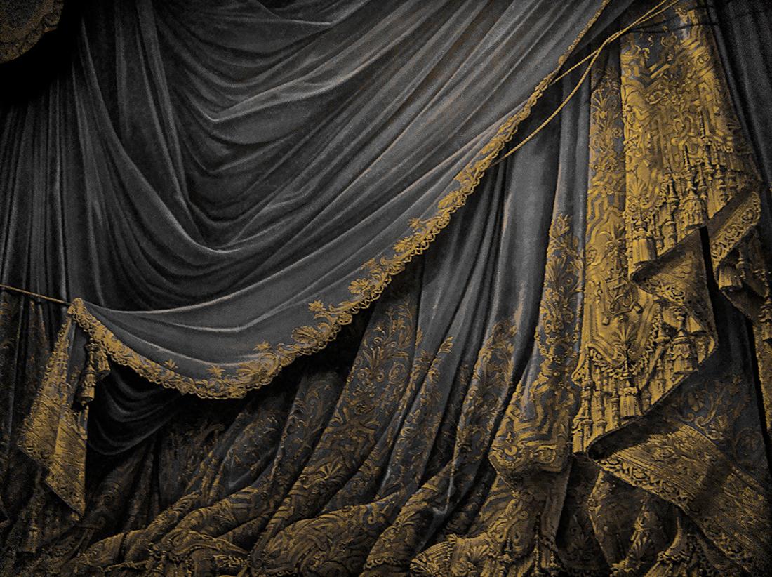 Schwarzer Vorhang Black And White Peony Treatment And Vintage Theatre Curtain