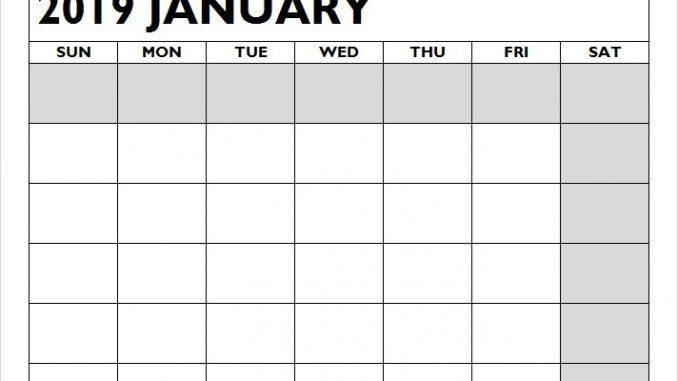 Blank Calendar January 2019 Template Word Excel