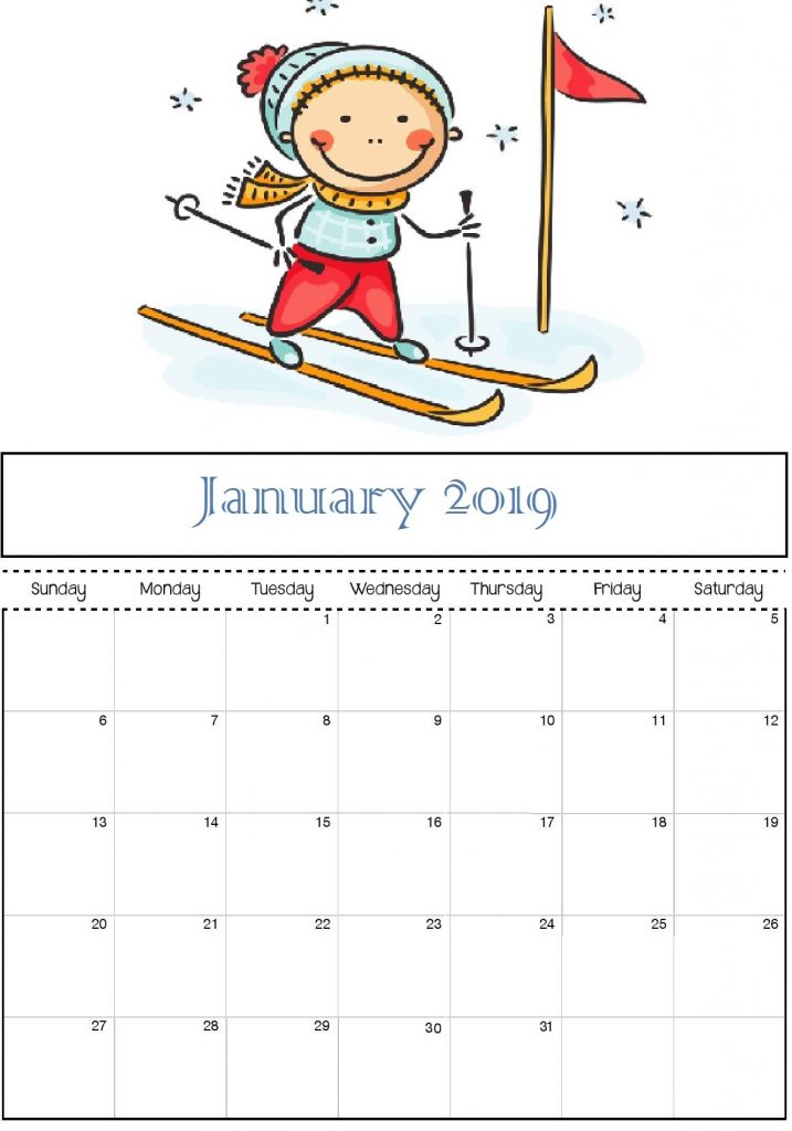 January 2019 Calendar Cute for Kids - Free January 2019 Calendar