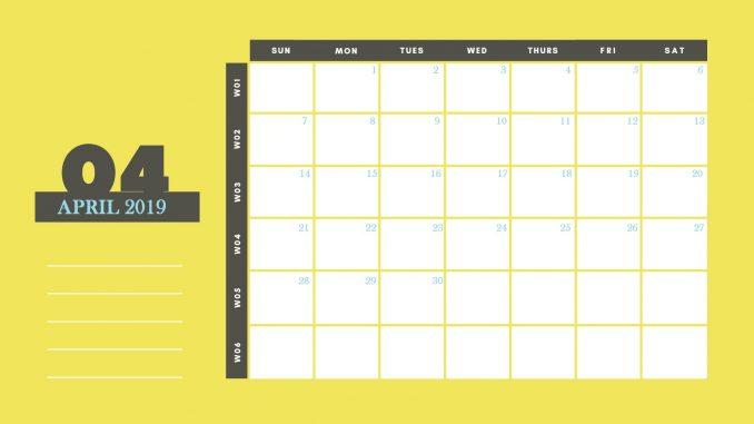 April 2019 Calendar Template Word Document
