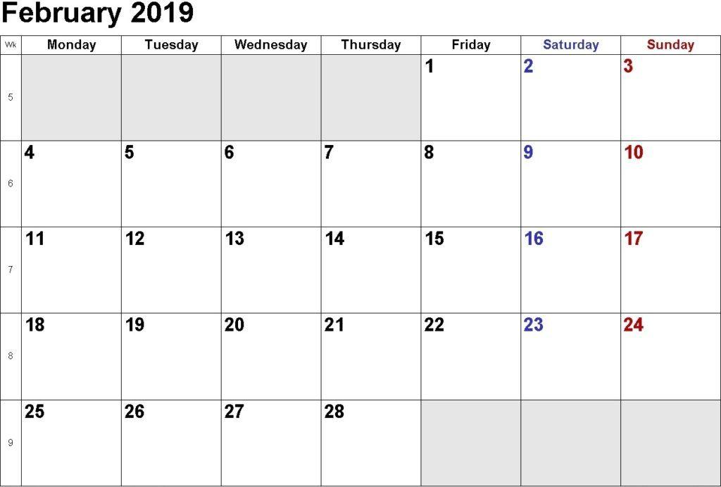 February Calendar 2019 Printable Blank Planner - Free January 2019