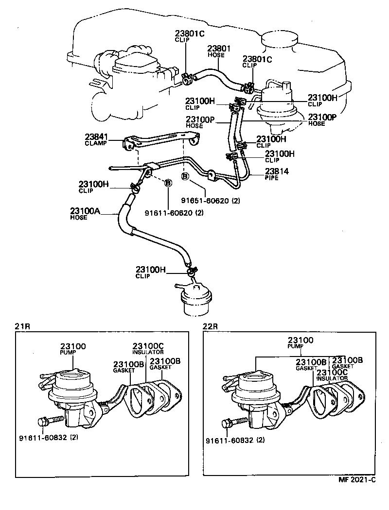1986 toyota pickup fuel system diagram