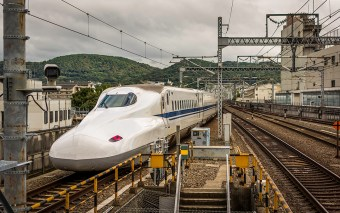 Departing JR Kyoto Station by Bullet Train