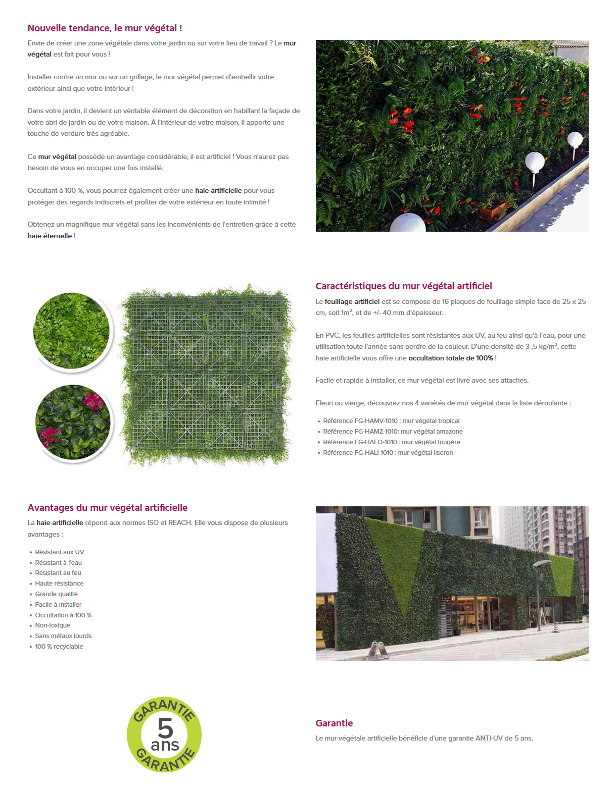 Mur Vegetal Artificiel Mur Végétal Artificiel Tropical 1 M² Jardideco