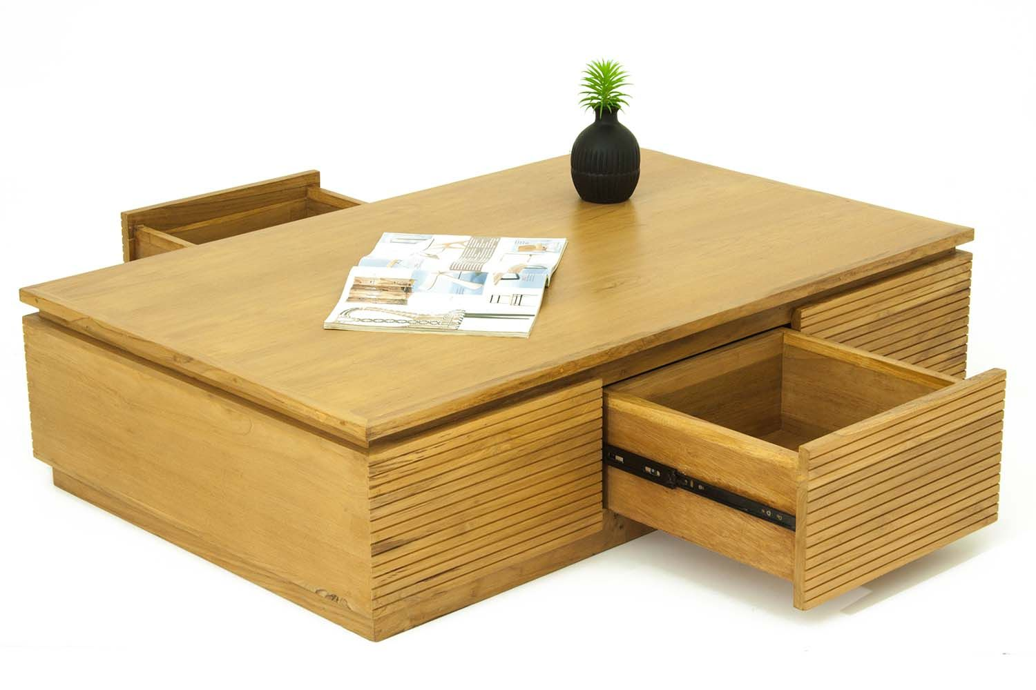 Meuble Teck Salon Table Basse Salon 3 Tiroirs En Teck Massif