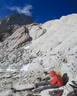 Jake Perkinson making supper below Fitz Roy's south face