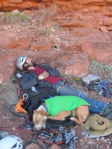 Resting with Emma after a solid ass whoopin, Indian Creek, UT