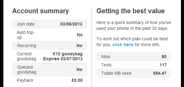 giffgaff account summary First month review of giffgaff