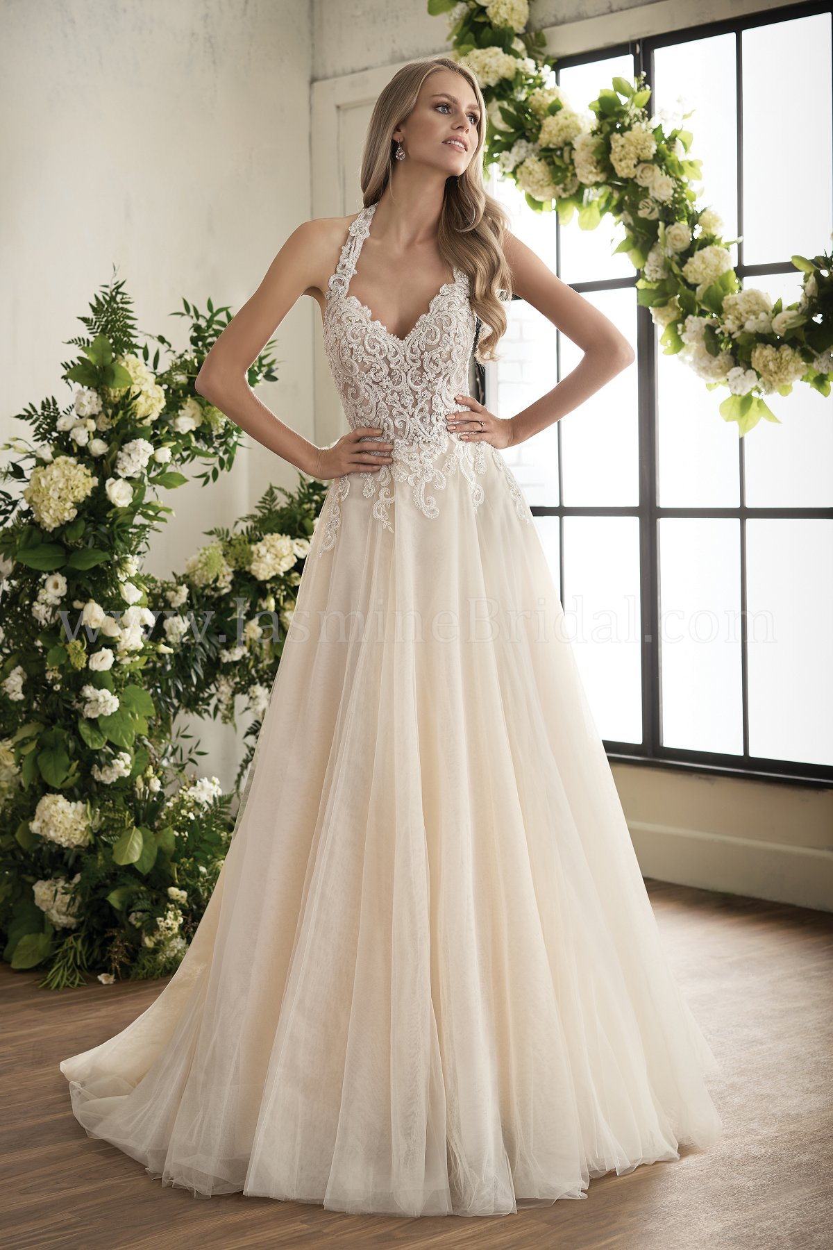 Bride Gowns T202008 Illusion Bodice V Neck Lace Bridal Gown Wedding