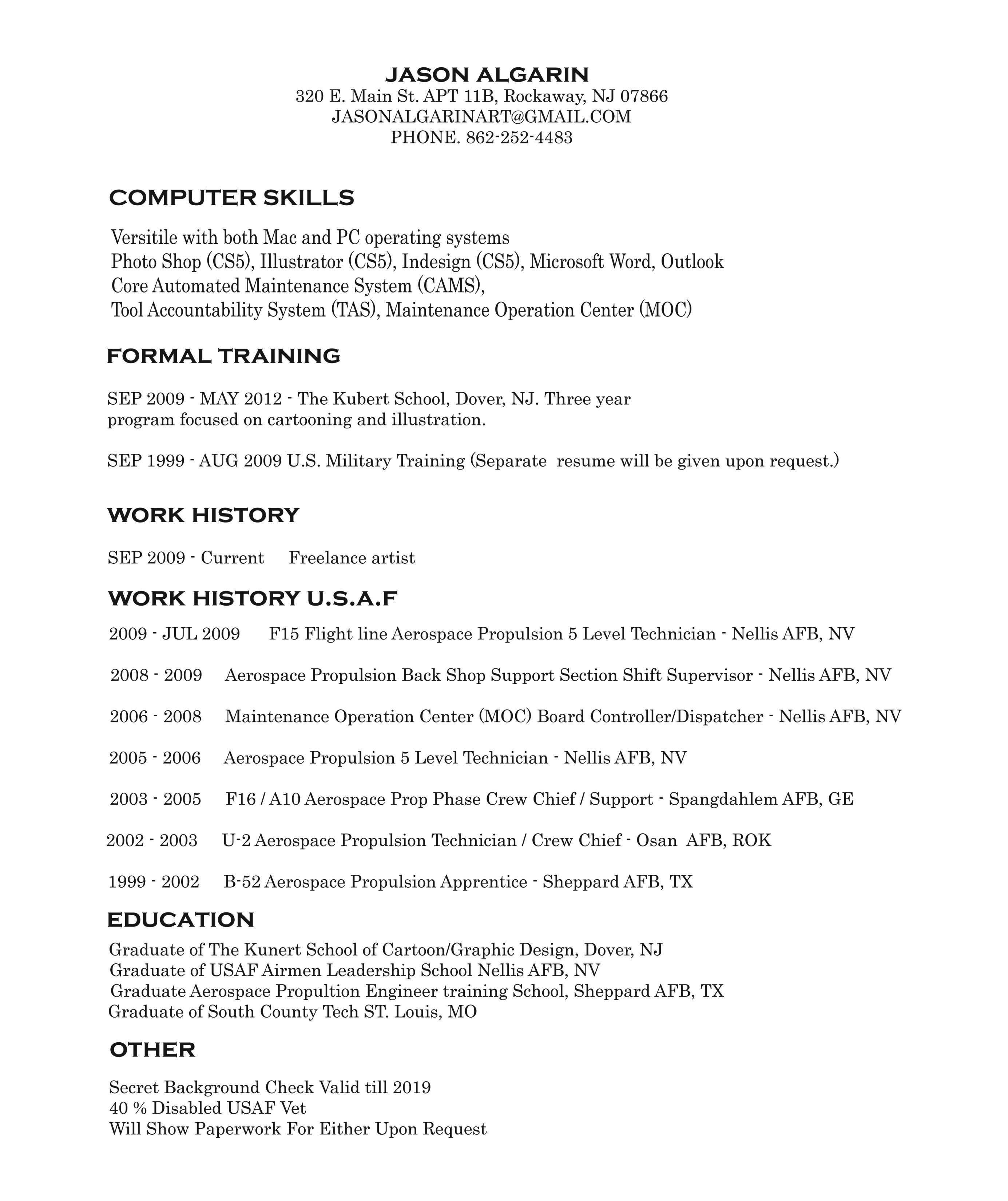 including art examples in artist resume