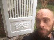 The gates to Robert Jordan's home. The dragon matches my back tattoo.