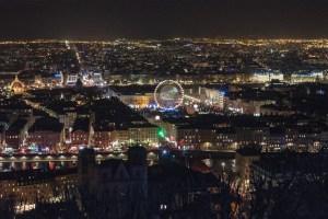 Lyon pendant la fête des Lumières 2013, vue de la colline de Fourvière
