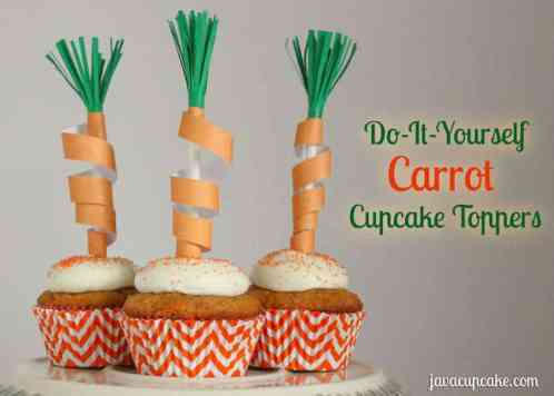 DIY Carrot Cupcake Toppers by JavaCupcake.com