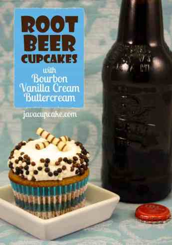 Root Beer Cupcakes topped with Bourbon Vanilla Cream Buttercream by JavaCupcake.com