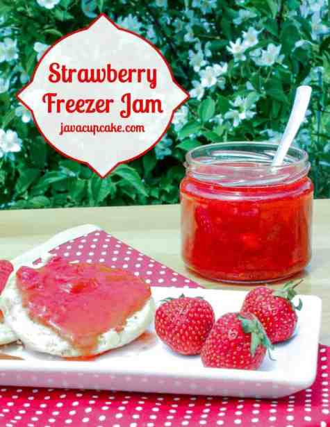 Strawberry Freezer Jam by JavaCupcake.com