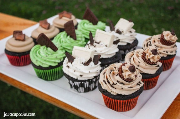 Candy Bar Cupcakes - 4 Ways! by JavaCupcake.com