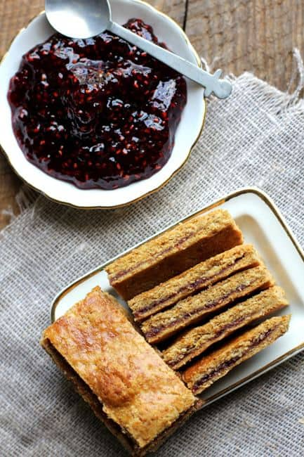 Raspberry Linzer Bars by Beard and Bonnet