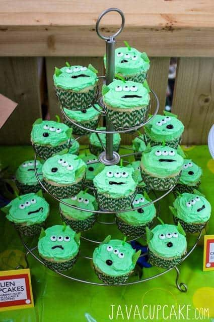 Toy Story Party Alien Cupcakes | JavaCupcake.com