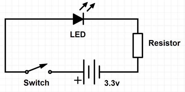basic led circuit with pushbutton switch