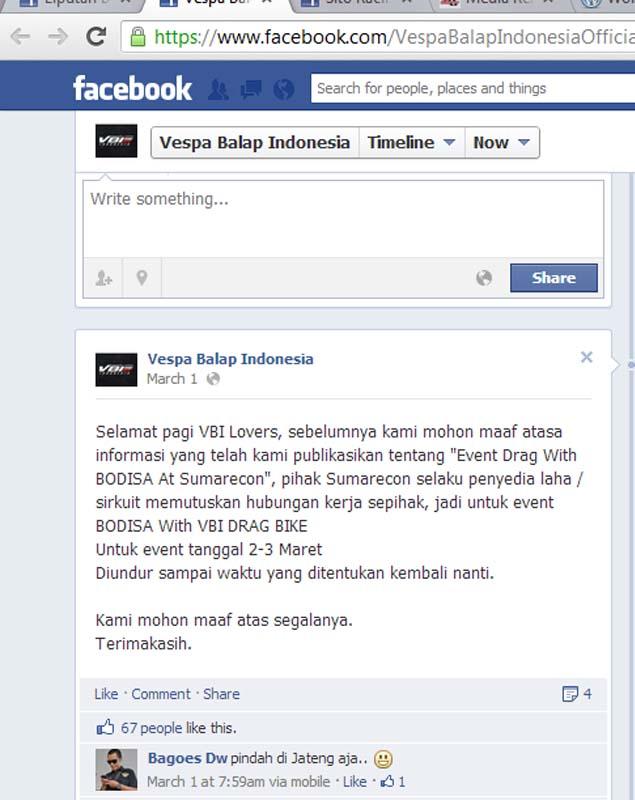 Berita Tanggal 1 Februari 2013 Berita Ane Waduh Ternyata Vbi Drag Race Gagal Tayang… Maret 5 2013