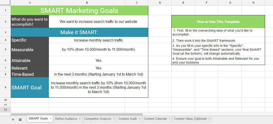 SMART Goals Template Jawfish Digital