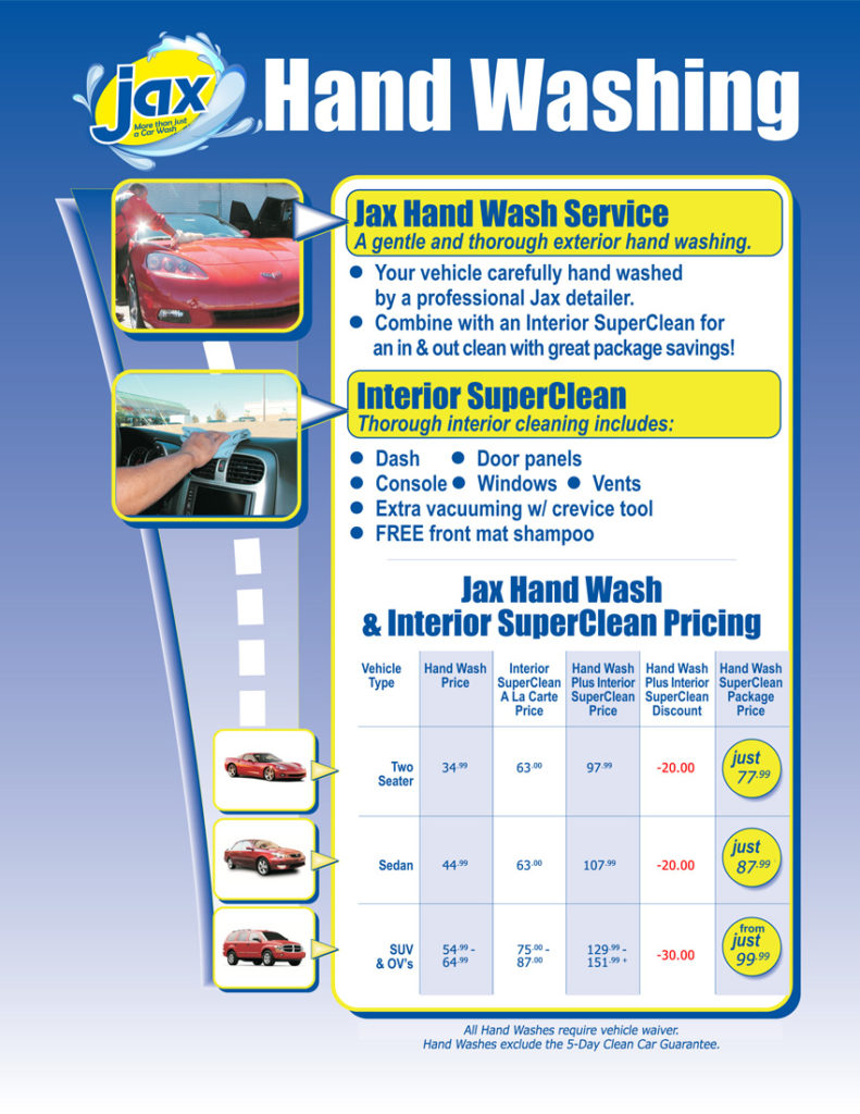 Auto Wash Car Wash Services Menu At Jax Kar Wash