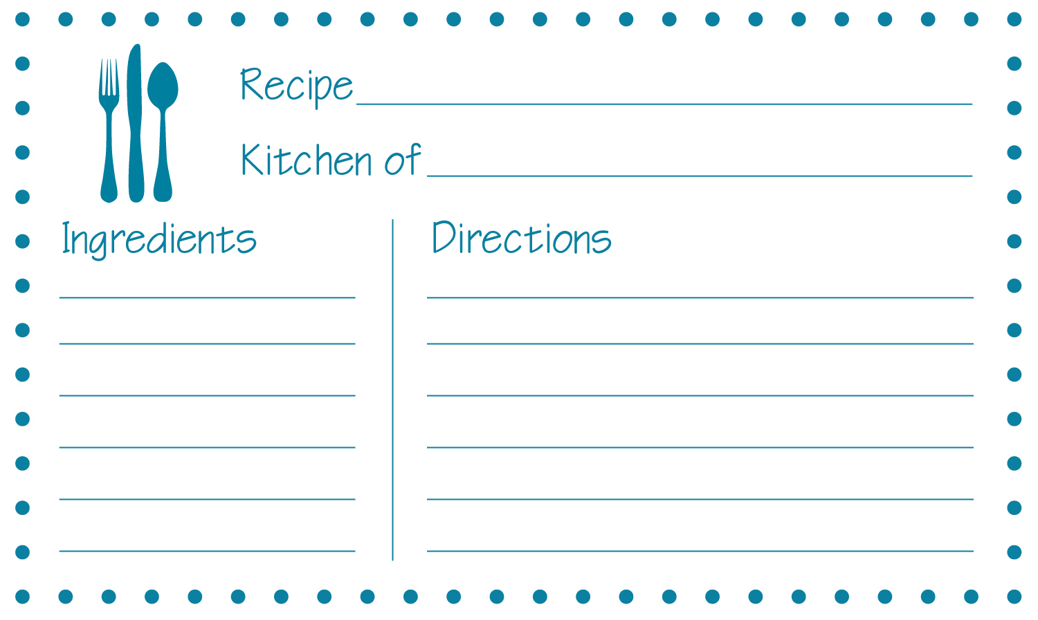 blank recipe card template word - Keni.candlecomfortzone.com