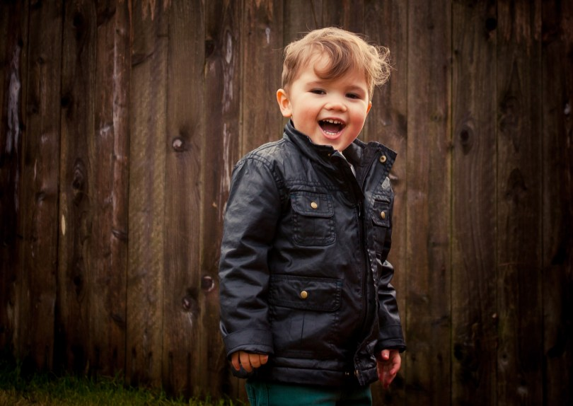 happy toddler backyard photography