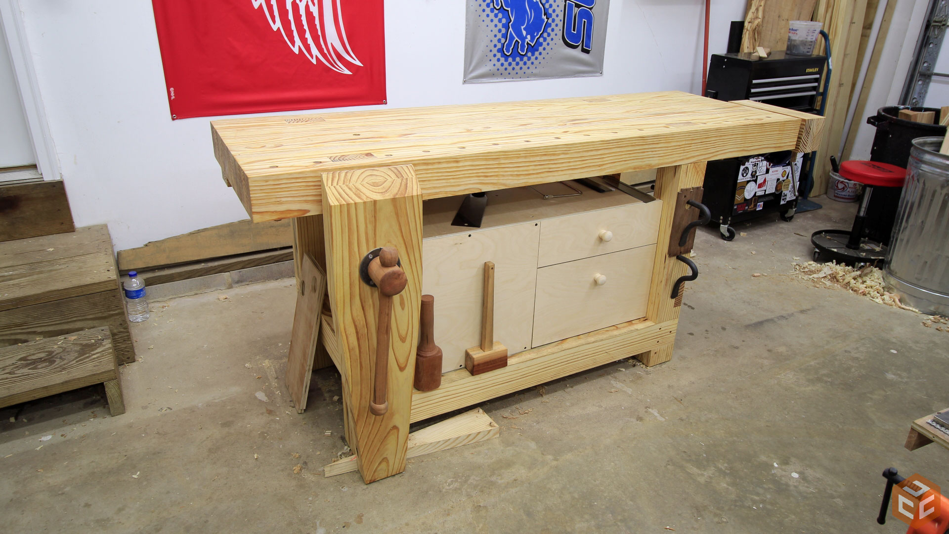 Woodworking Tool Bench Quick And Easy Workbench Cabinet Jays Custom Creations