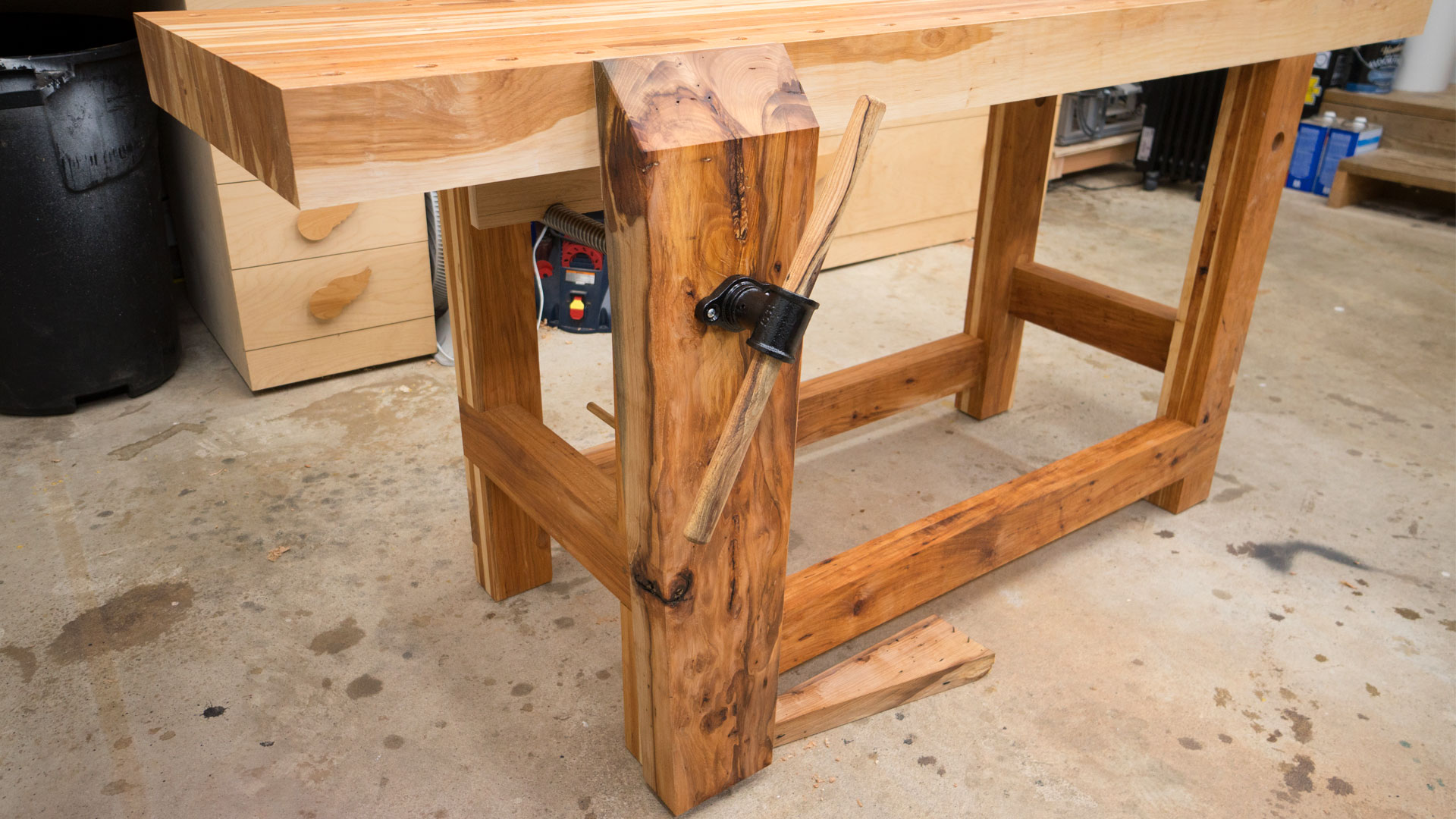 Hickory Workbench Leg Vise And Dog Holes Jays Custom Creations