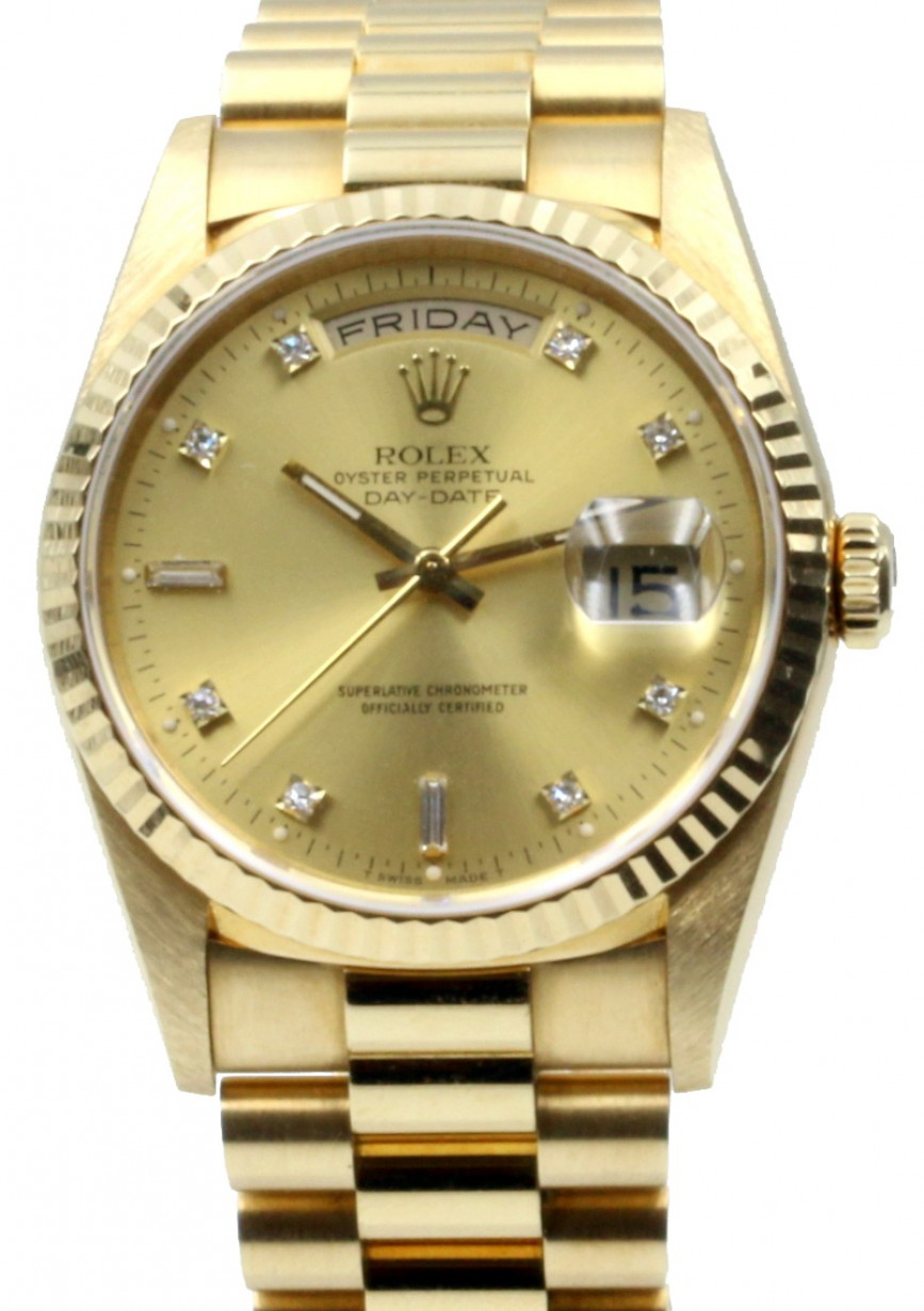 Rolex Daydate Rolex Day Date President 18238 Champagne 36mm Factory Diamonds 36mm 18k Yellow Gold