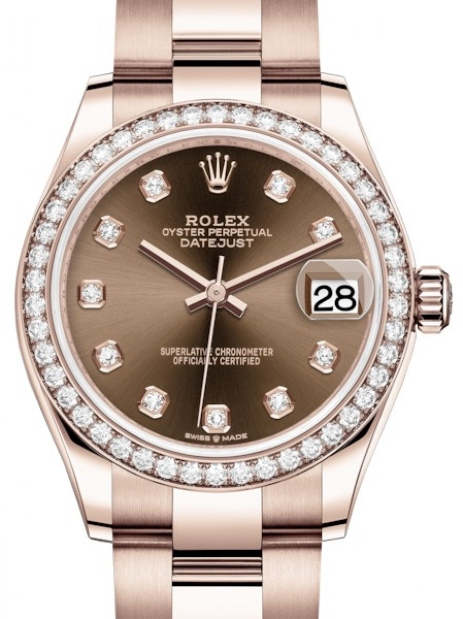 Rolex Oyster Perpetual Rose Gold Rolex Datejust 31 Lady Midsize Rose Gold Chocolate Diamond Dial Diamond Bezel Oyster Bracelet 278285rbr Brand New