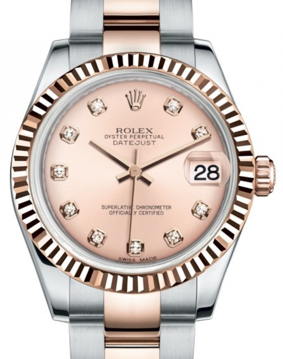Rolex Oyster Perpetual Rose Gold Rolex Datejust 31 Lady Midsize Rose Gold Steel Pink Diamond Dial Fluted Bezel Oyster Bracelet 178271 Brand New