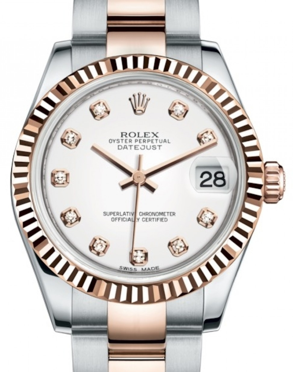 Rolex Oyster Perpetual Rose Gold Rolex Datejust 31 Lady Midsize Rose Gold Steel White Diamond Dial Fluted Bezel Oyster Bracelet 178271 Brand New