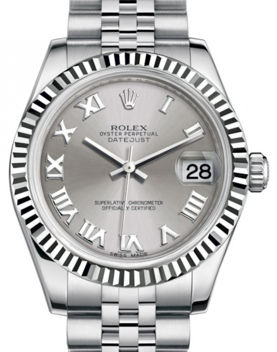 Steel Rolex Rolex Datejust 31 Lady Midsize White Gold Steel Rhodium Roman Dial Fluted Bezel Jubilee Bracelet 178274 Brand New