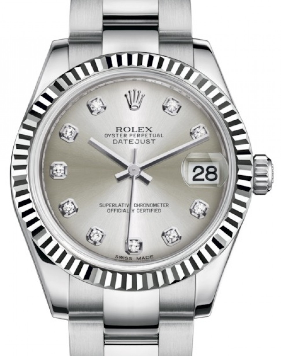 Steel Rolex Rolex Datejust 31 Lady Midsize White Gold Steel Silver Diamond Dial Fluted Bezel Oyster Bracelet 178274 Brand New