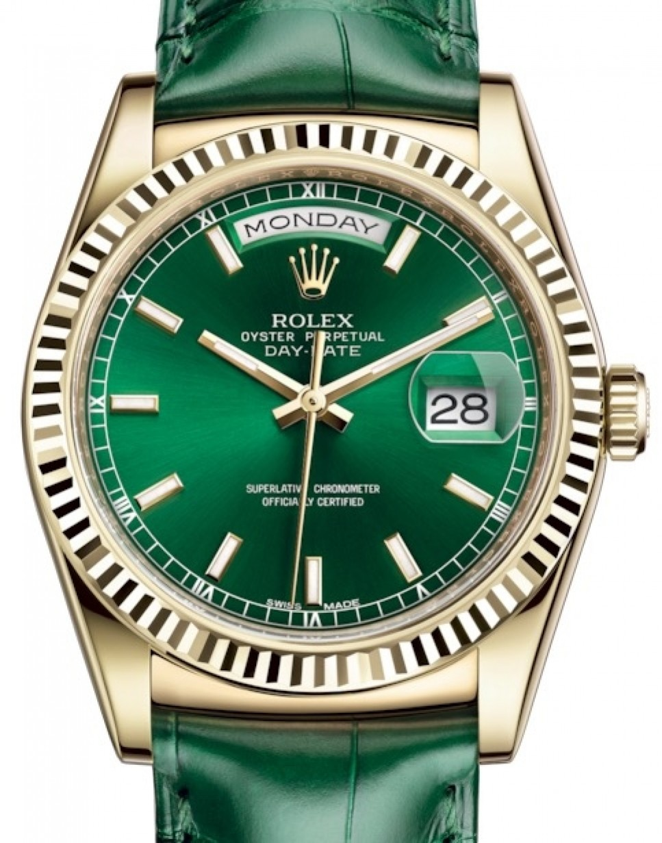 Rolex Daydate Rolex Day Date 36 Yellow Gold Green Index Dial Fluted Bezel Green Leather Strap 118138 Brand New