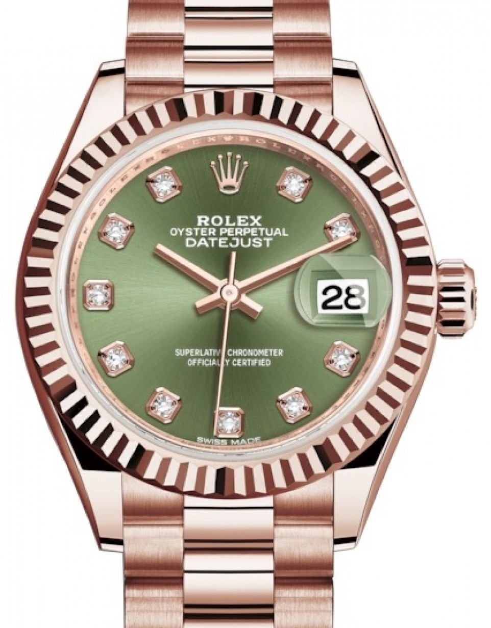 Rolex Oyster Perpetual Rose Gold Rolex Lady Datejust 28 Rose Gold Olive Green Diamond Dial Fluted Bezel President Bracelet 279175 Brand New
