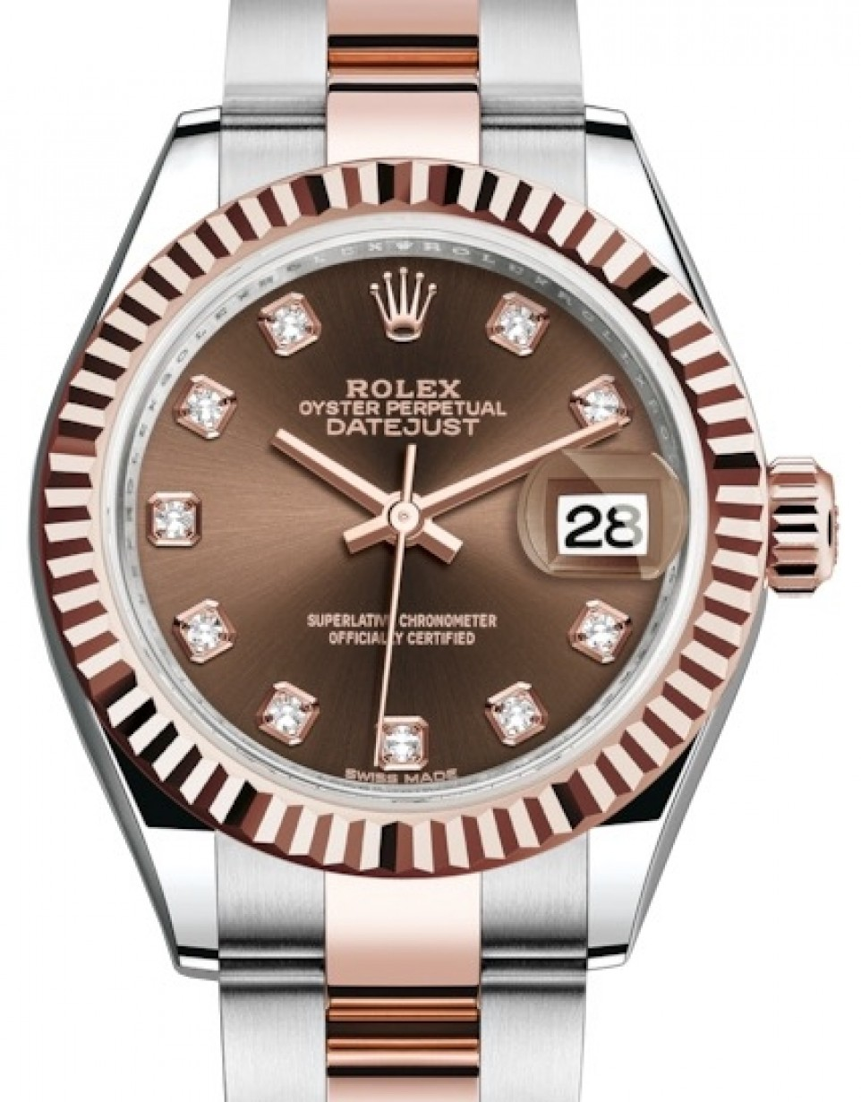 Rolex Oyster Perpetual Rose Gold Rolex Lady Datejust 28 Rose Gold Steel Chocolate Diamond Dial Fluted Bezel Oyster Bracelet 279171 Brand New