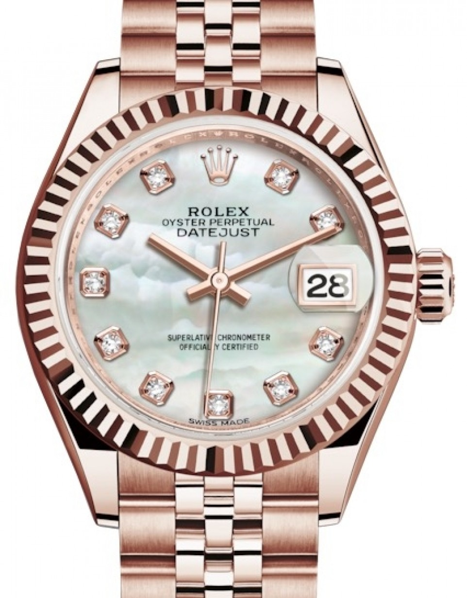 Rolex Oyster Perpetual Rose Gold Rolex Lady Datejust 28 Rose Gold White Mother Of Pearl Diamond Dial Fluted Bezel Jubilee Bracelet 279175 Brand New