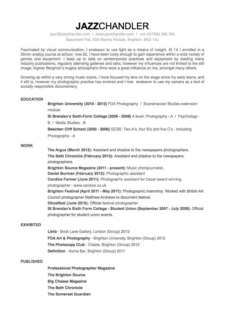 A Good Job Resume Resume Samples By Type Of Job And Resume Format Cv Jazz Chandler