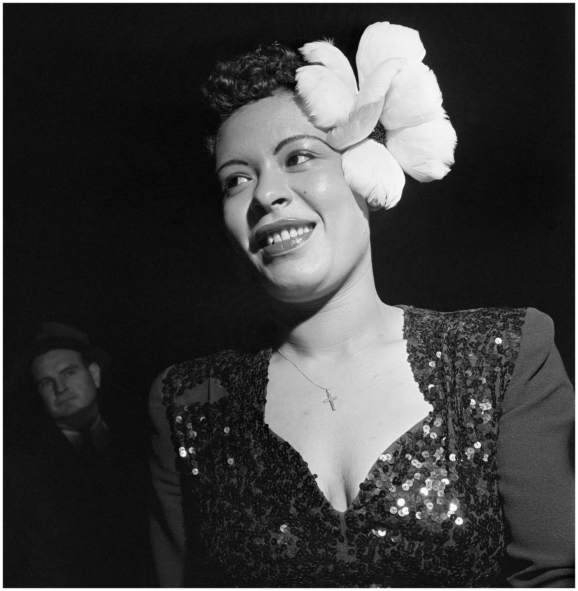 Billie Holiday Billie Holiday Wears A Large White Flower In Her Hair