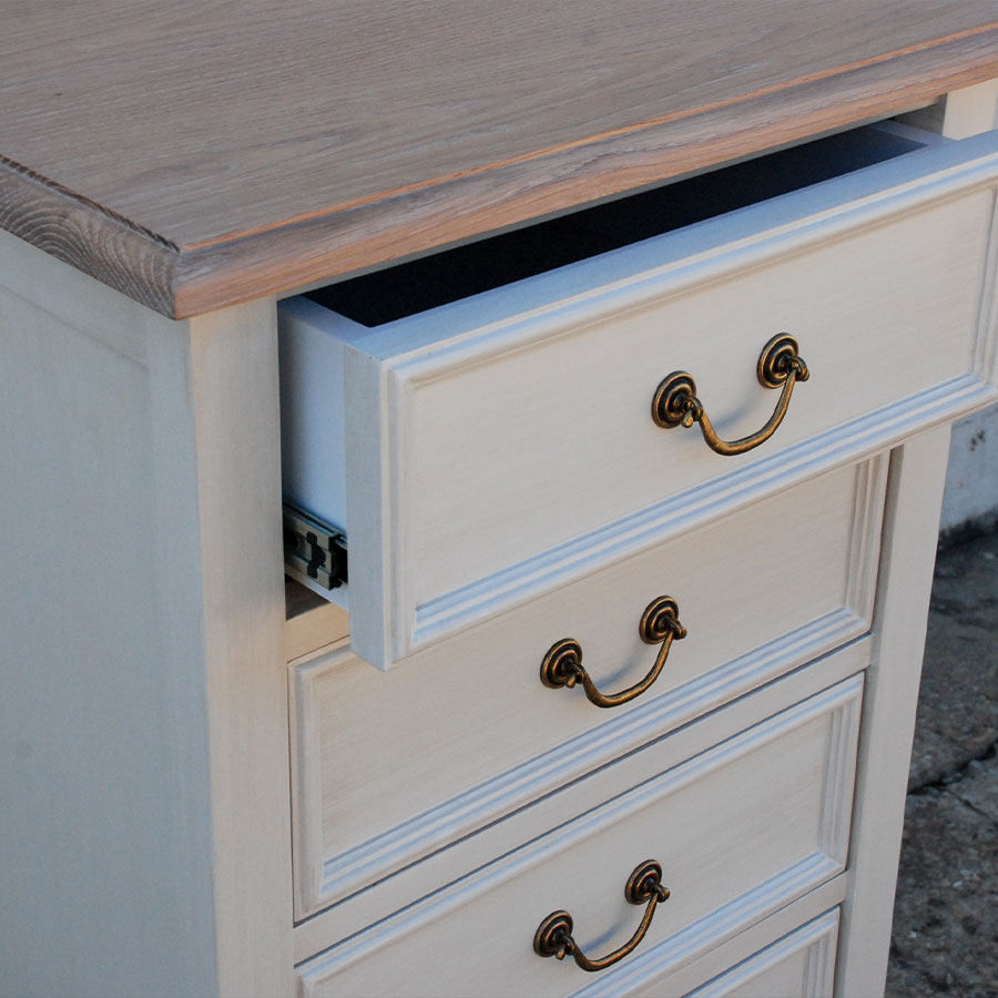 Bastille Tallboy 6 Drawer Antique White
