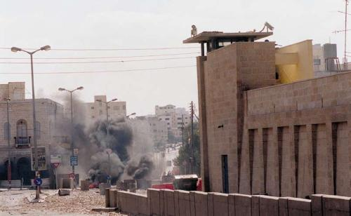 Rachel's Tomb, October 2000, at the start of the Second Intifada. As part of the Oslo 2 agreement, Bethlehem was handed over to the Palestinians. The nearby Rachel's Tomb was attacked hundreds of times, and Israel had to fortify it. (Amos Ben Gershon, Government Press Office)