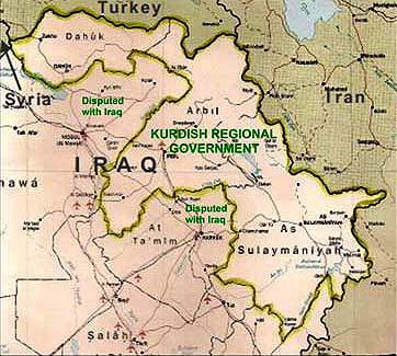 Map of the Kurdistan Region of Iraq