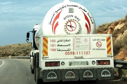 A gas delivery truck near Ramallah